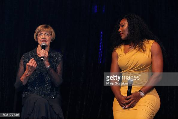 Margaret Court and Serena Williams at the 2016 Hopman Cup Player Party at Perth Crown on January 2 2016 in Perth Australia