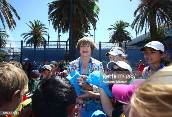 Margaret Court helps welcome Super 10s National Finals athletes to Melbourne Park at the new National Tennis Centre during day 10 of the Australian...