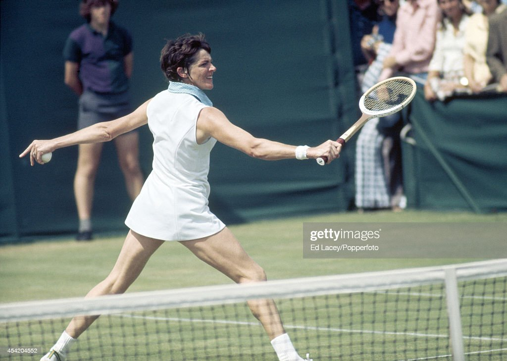 Margaret Court of Australia in action at Wimbledon on 29th June 1973. Court, seeded first, lost in the semi-finals to Chris Evert.