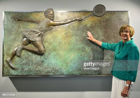 Margaret Court poses for a photo after the official opening ceremony of Margaret Court Arena during day eight of the 2015 Australian Open at...
