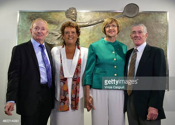 Margaret Court poses for a photo with Rod Laver Evonne Goolagong Cawley and Ken Rosewall after the official opening ceremony of Margaret Court Arena...