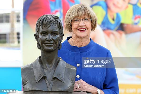 Margaret Court poses with a bronze bust of herself during the 2015 Australian Open at Melbourne Park on January 29 2015 in Melbourne Australia