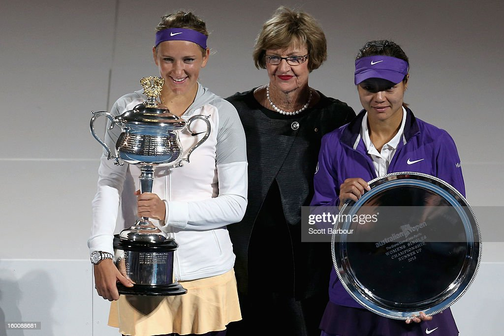Margaret Court (C) poses with Victoria Azarenka (L) of Belarus with the Daphne Akhurst Memorial Cup and Na Li of China with the runners up trophy after their women's final match against Na Li of Chinaduring day thirteen of the 2013 Australian Open at Melbourne Park on January 26, 2013 in Melbourne, Australia.
