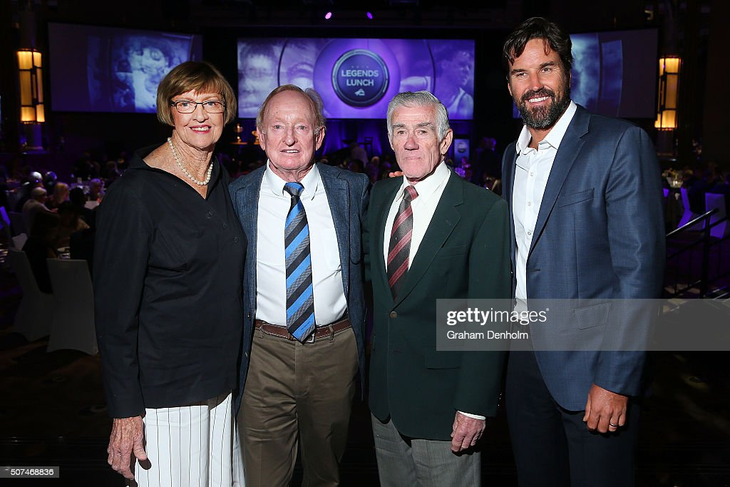 Margaret Court, Rod Laver, Ken Rosewall and Pat Rafter pose at the Legends Lunch during day thirteen of the 2016 Australian Open at Melbourne Park on January 30, 2016 in Melbourne, Australia.