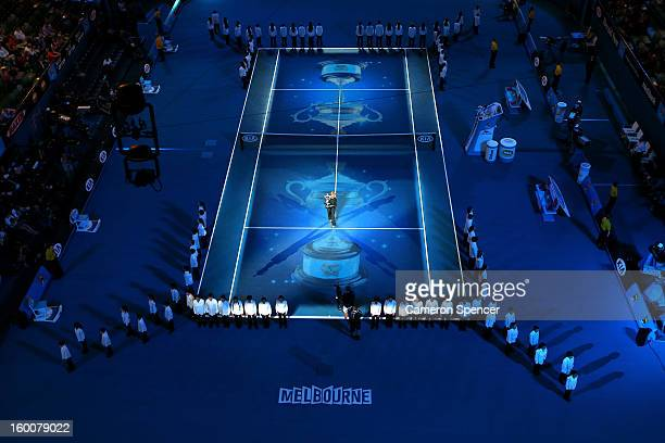 Margaret Court stands with the Daphne Akhurst Memorial Cup to be presented to the winner of the women's final match between Victoria Azarenka of...