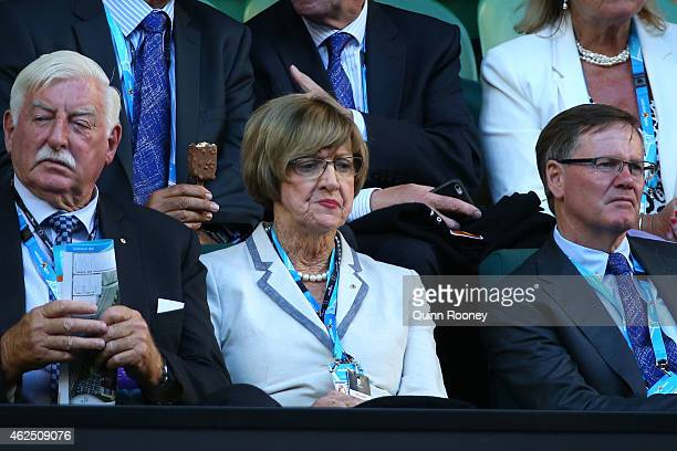 Margaret Court watches the action at Rod Laver Arena during day 12 of the 2015 Australian Open at Melbourne Park on January 30 2015 in Melbourne...