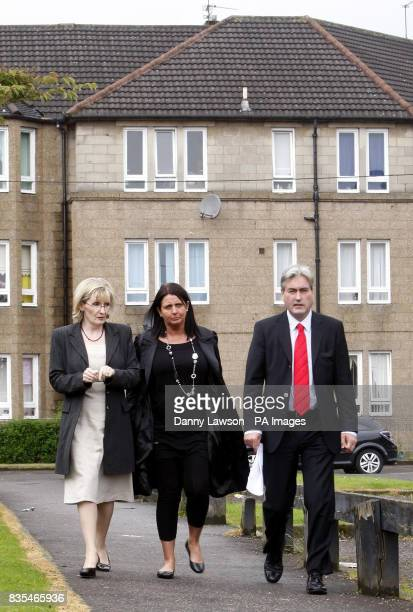 MSP Margaret Curran Scottish Labour leader Iain Gray and Christine Halley mother of Stuart Baillie who died after being stabbed in 2007 during the...