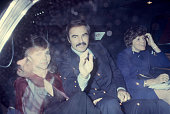 Margaret Field Burt Reynolds and Sally Field in a limousine circa 1970 New York