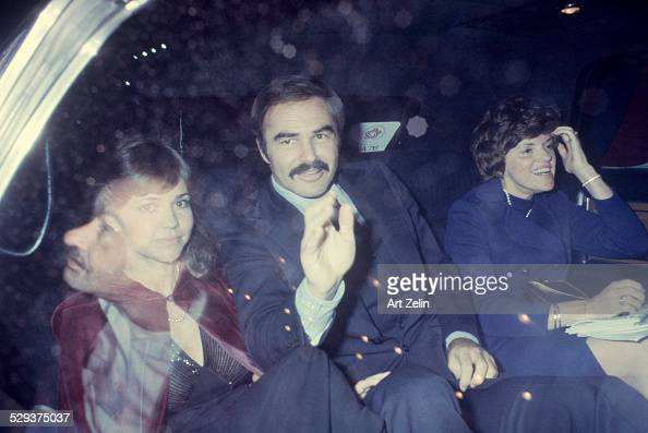 Margaret Field Burt Reynolds and Sally Field in a limousine circa 1970 New York