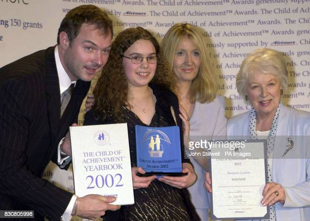 Margaret Graham from Belfast with TV presenter John Leslie author JK Rowling and actress June Whitfield at the Hilton hotel in London for the 21st...
