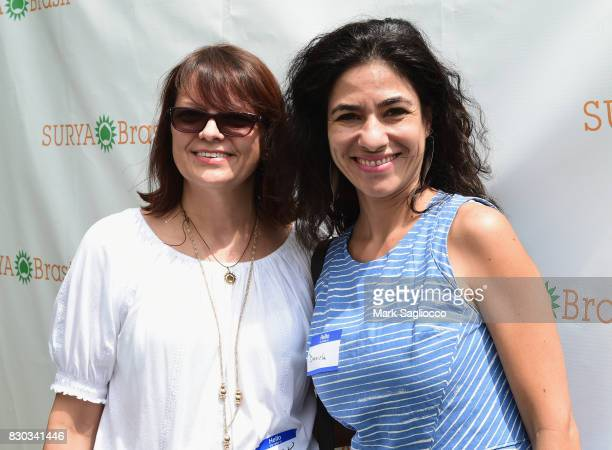 Margaret Kwiatkowski and Daniela Kuntz attend as Surya Brasil celebrates 20th anniversary in the United States on August 11 2017 in New Hyde Park New...