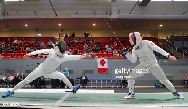 Margaret Lu of the USA attacks Kelleigh Ryan of Canada during the Team Women's Foil event on June 18 2017 at the PanAmerican Fencing Championships at...