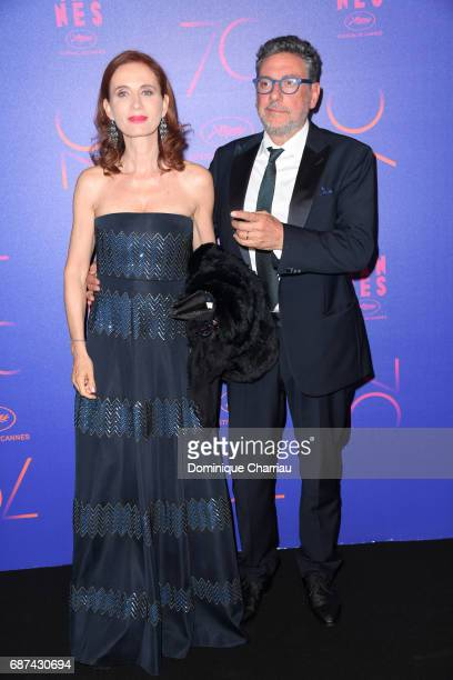 Margaret Mazzantini and Sergio Castellitto attend the 70th Anniversary Dinner during the 70th annual Cannes Film Festival at on May 23 2017 in Cannes...