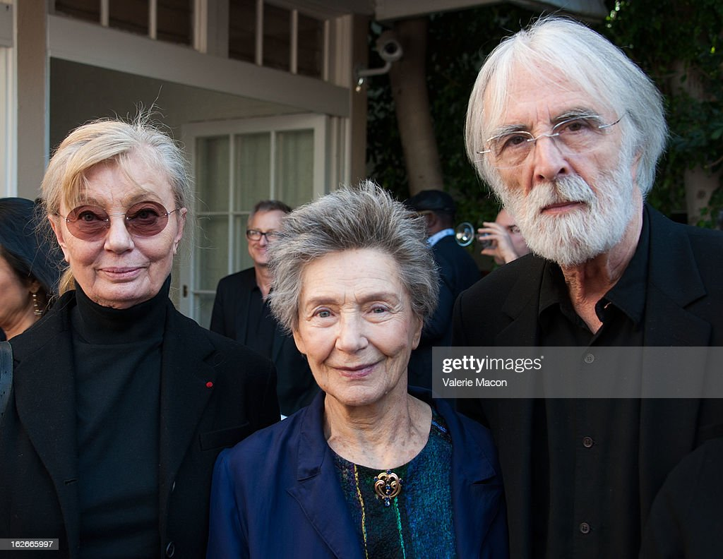 Margaret Menegoz, Emmanuelle Riva and Michael Haneke attends The Consul General Of France, Mr. Axel Cruau, reception in Honor of The French Nominees For The 85th Annual Academy Awards at French Consulate's Home on February 25, 2013 in Beverly Hills, California.