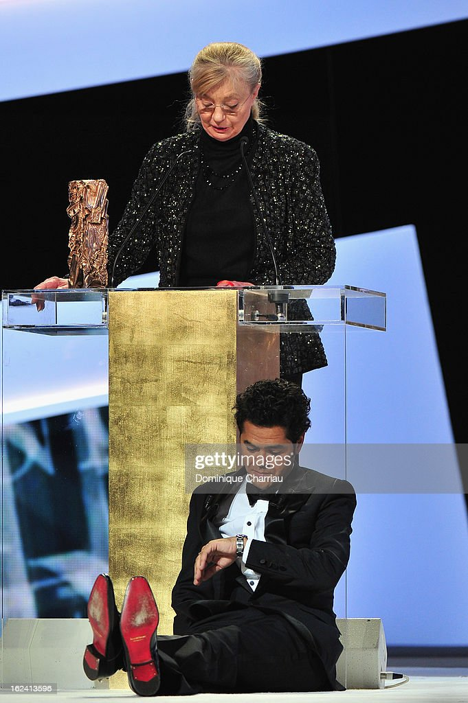 Margaret Menegoz receives the Best Film Cesar for 'Amour' on behalf of Michael Haneke next to Jamel Debbouze during the 37th Cesar Film Awards Cesar Film Awards 2013 at Theatre du Chatelet on February 22, 2013 in Paris, France.