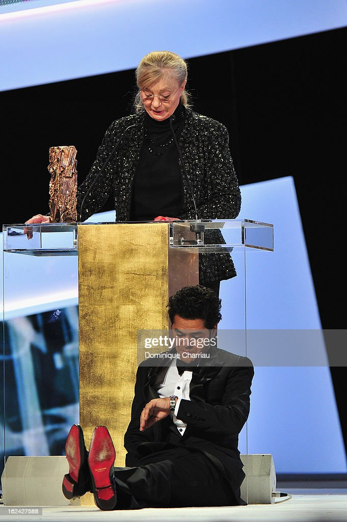 Margaret Menegoz receives the Best Film Cesar for 'Amour' on behalf of Michael Haneke next to <a gi-track='captionPersonalityLinkClicked' href=/galleries/search?phrase=Jamel+Debbouze&family=editorial&specificpeople=606837 ng-click='$event.stopPropagation()'>Jamel Debbouze</a> during the 37th Cesar Film Awards Cesar Film Awards 2013 at Theatre du Chatelet on February 22, 2013 in Paris, France.