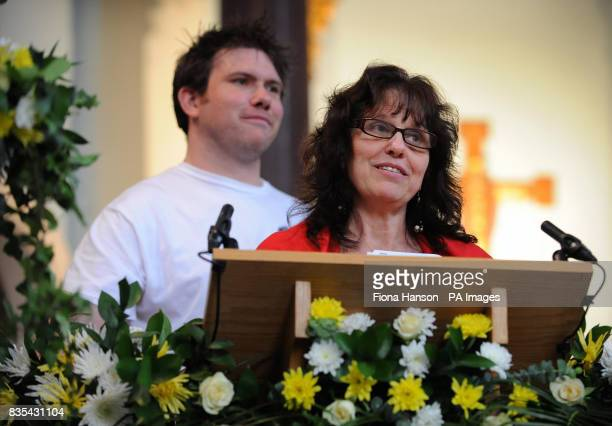 Margaret Mizen mother of Jimmy Mizen and Danny brother of murdered schoolboy Jimmy Mizen during a memorial service to mark the first anniversary of...