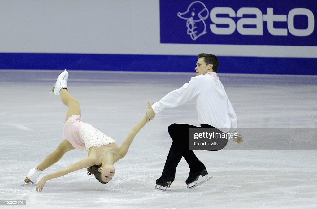 Margaret Purdy and Michael Marinaro of Canada skate in the Pairs Short Program during day 3 of the ISU World Junior Figure Skating Championships at Agora Arena on February 27, 2013 in Milan, Italy.