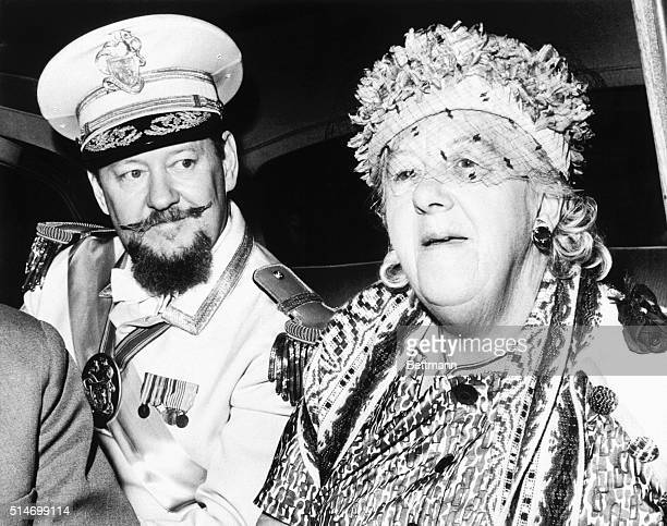 Margaret Rutherford in costume as Grand Duchess Gloriana XII ruler of the imaginary Duchy of Grand Fenwick travels to Cape Canaveral for a premiere...