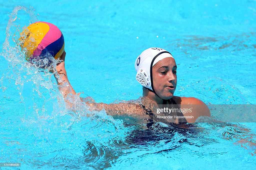Margaret Steffens of the USA competes in the Women's Water Polo first preliminary round match against Greece during Day Two of the 15th FINA World Championships at Piscines Bernat Picornell on July 21, 2013 in Barcelona, Spain.