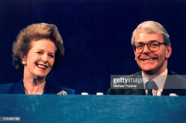 Margaret Thatcher and John Major appear at the Conservative Party Conferece UK 1994