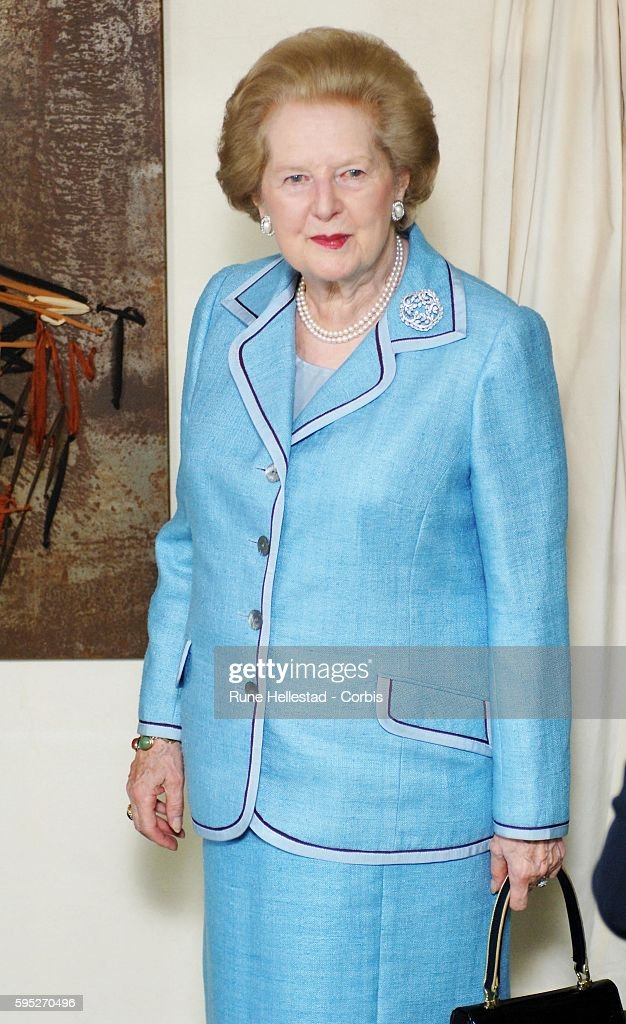 Margaret Thatcher attends an unveiling of her portrait made by Benjamin Shine at the Dorchester Hotel in London UK