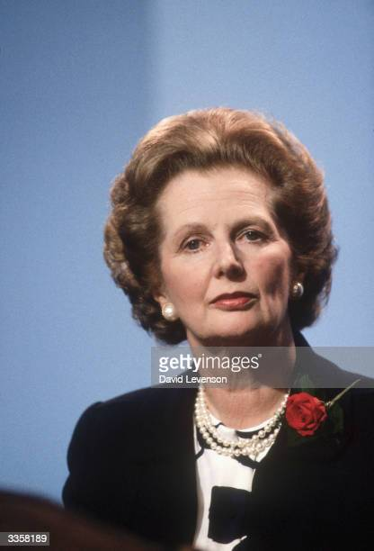 Margaret Thatcher British Prime Minister addresses the annual Conservative Party Conference on October 10 1986 in Bournemouth Dorset