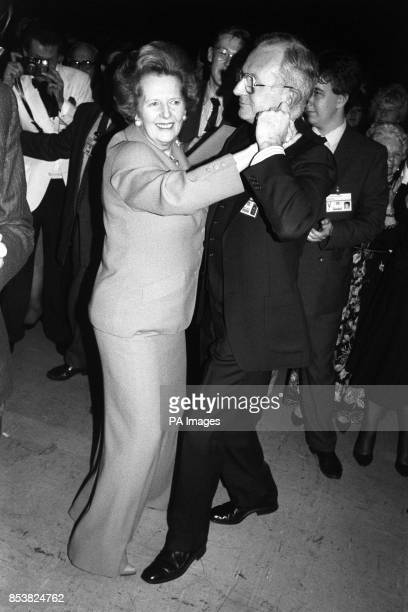 Margaret Thatcher dancing with mayoral secretary John Piper at the civic ball last night in Brighton where the Conservative Party Conference is...