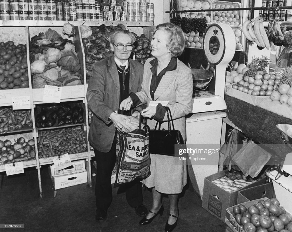 <a gi-track='captionPersonalityLinkClicked' href=/galleries/search?phrase=Margaret+Thatcher&family=editorial&specificpeople=159677 ng-click='$event.stopPropagation()'>Margaret Thatcher</a>, Leader of the Conservative Party, visits her local greengrocer's in Kensington, London, 7th April 1979. Shopkeeper G. Poole helps her with her purchases.