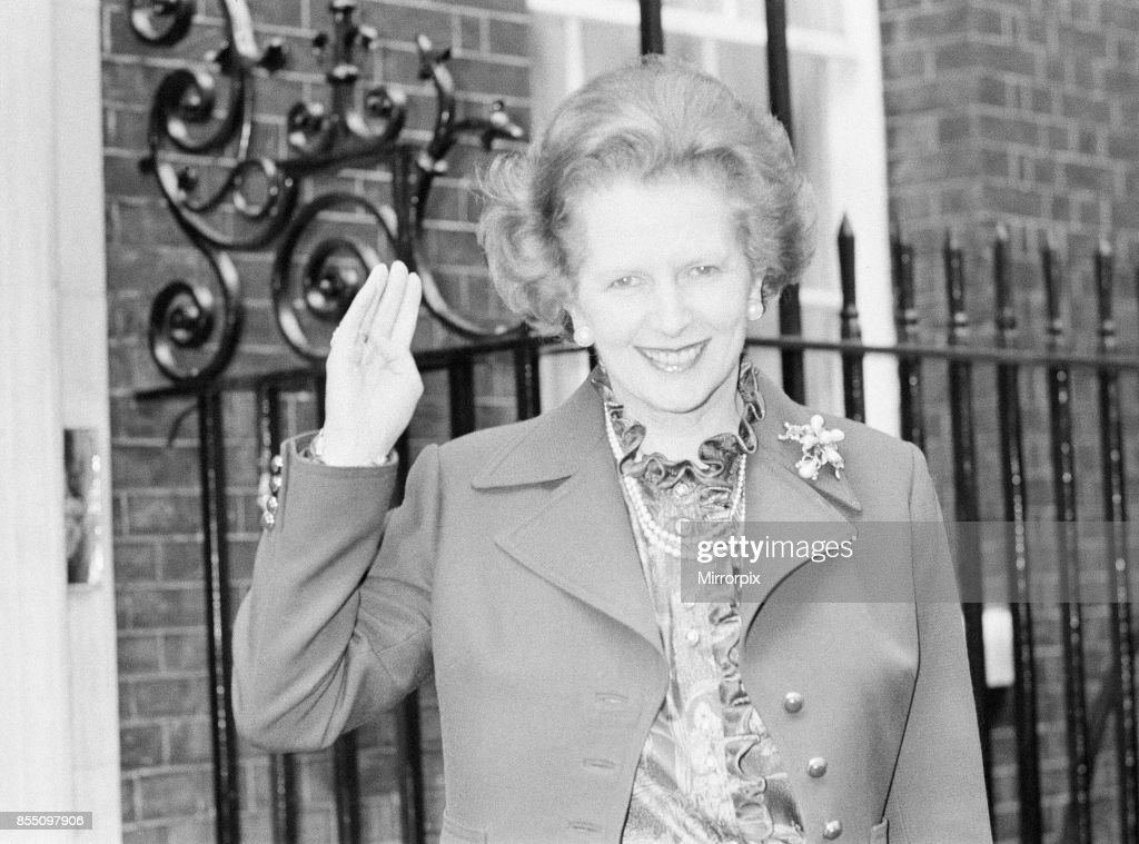 Margaret Thatcher PM pictured on her birthday, aged 57 years old, outside Downing Street, London, 13th October 1982.