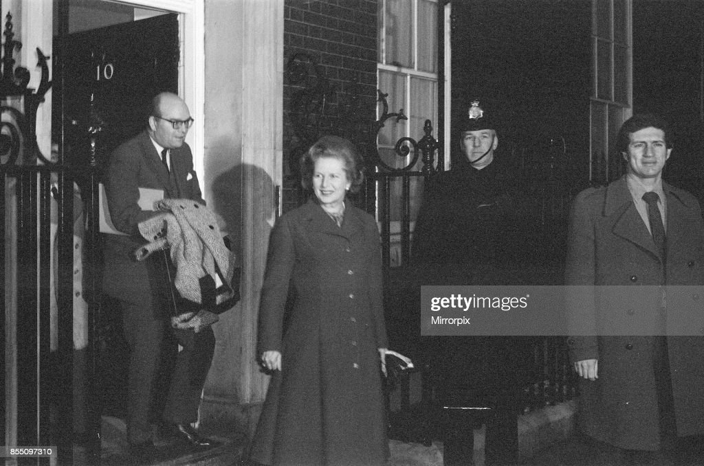 Margaret Thatcher PM pictured outside Downing Street, London, 15th January 1982, she is leaving Downing Street at 7:45 am in the morning, in a good mood, after being informed that her son Mark is now safe and well after being reported as missing during car rally across The Sahara.