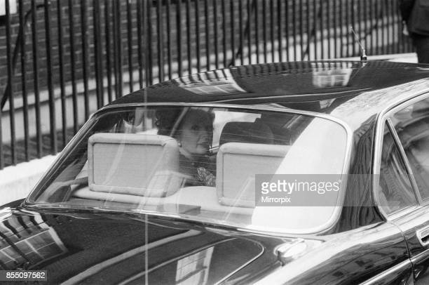 Margaret Thatcher PM pictured outside Downing Street London Wednesday 14th April 1982 Leaving Downing Street on her way to the House of Commons for...