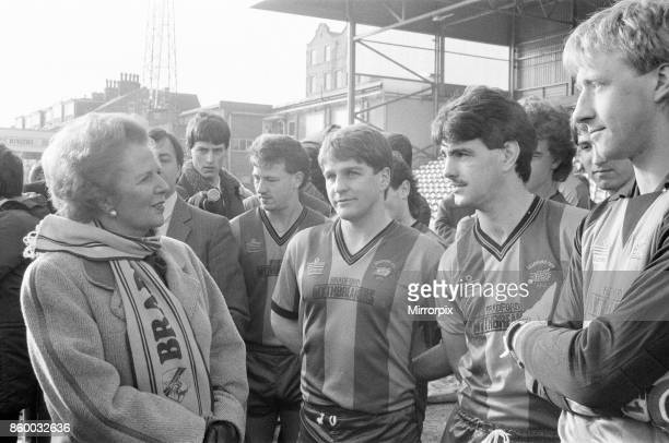 Margaret Thatcher PM visits Valley Parade home of Bradford City Football Club Friday 20th February 1987The Prime Minister inspected the redevelopment...