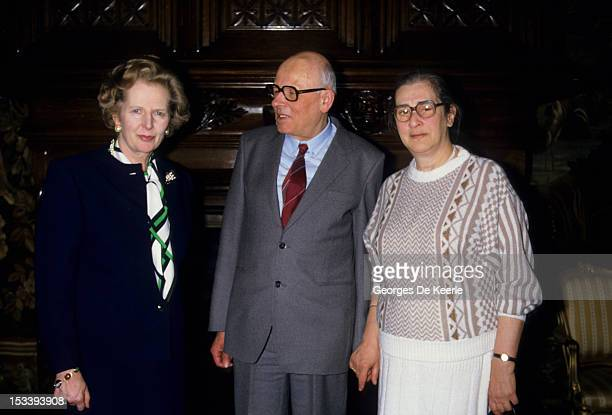 Margaret Thatcher with Andrei Sakharov and Yelena Bonner meeting at the British Embassy in London on March 1987