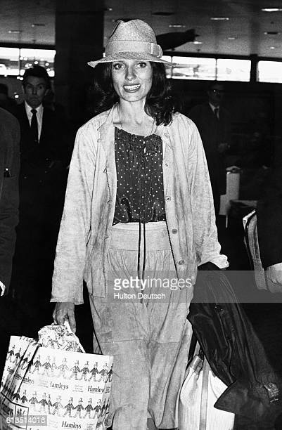 Margaret Trudeau at Heathrow Airport before taking her seat on Concorde