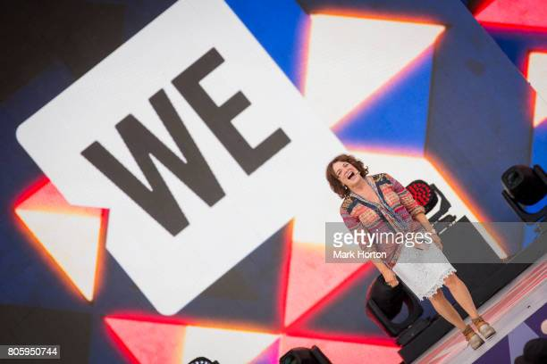 Margaret Trudeau delivers remarks at We Day Canada at Parliament Hill on July 2 2017 in Ottawa Canada