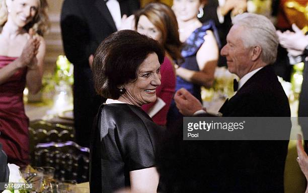 Margaret Trudeau mother of Prime Minister Justin Trudeau attends a State Dinner at the White House March 10 2016 in Washington DC Hosted by President...