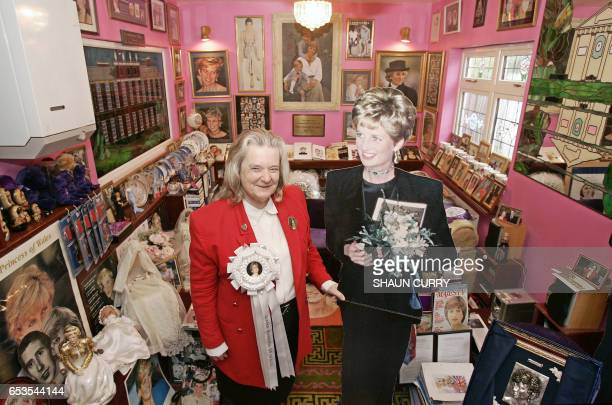 Margaret Tyler poses for photographs in her home in north London with some of the estimated 2000 3000 items of Diana memorabilia 23 August 2007...