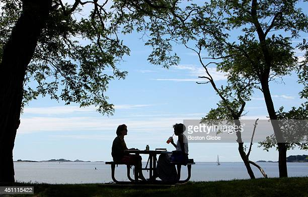 Margaret Young left and January O'Neil meet for coffee and to work on poetry at Lyons Park in Beverly Mass on June 21 2014 Both are poets and...