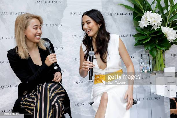 Margaret Zhang and Jessica Gomes during the launch of 'Equal Beauty' beauty line at David Jones Bourke Street on March 15 2017 in Melbourne Australia