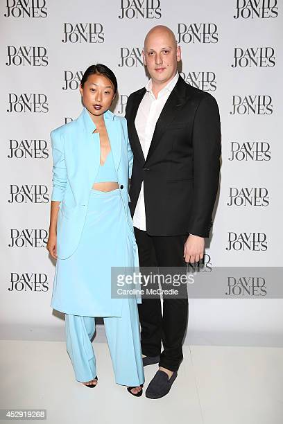 Margaret Zhang and Michael Lo Sordo arrive at the David Jones Spring/Summer 2014 Collection Launch at David Jones Elizabeth Street Store on July 30...