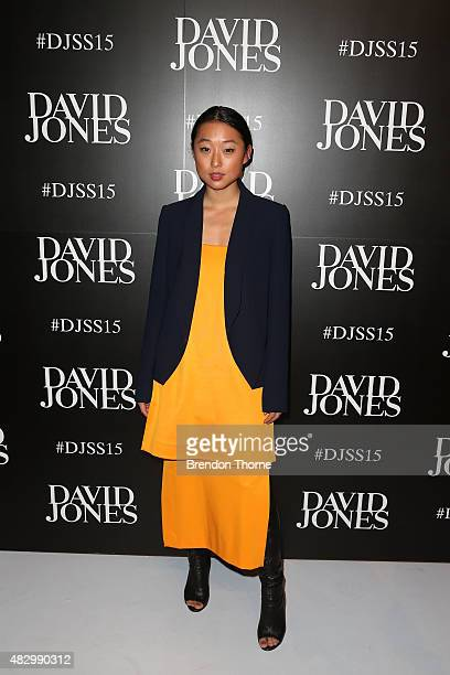 Margaret Zhang arrives ahead of the David Jones Spring/Summer 2015 Fashion Launch at David Jones Elizabeth Street Store on August 5 2015 in Sydney...