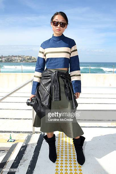 Margaret Zhang arrives at Ten Pieces show at MercedesBenz Fashion Week Australia 2015 at Bondi Icebergs on April 16 2015 in Sydney Australia