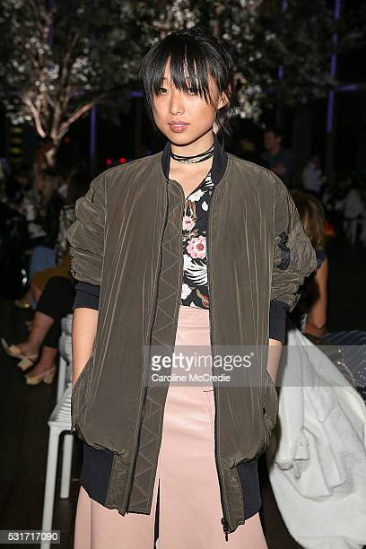 Margaret Zhang attends the Dion Lee show at MercedesBenz Fashion Week Resort 17 Collections at Bloomberg Building on May 16 2016 in Sydney Australia