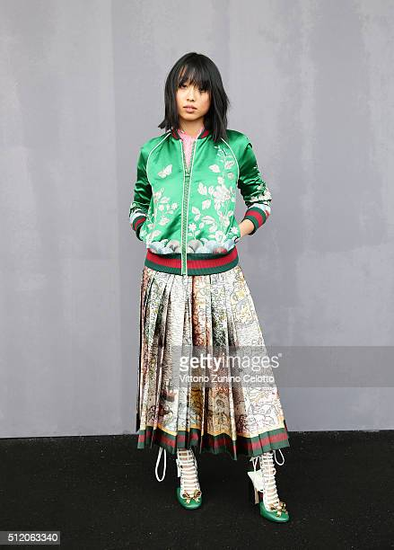 Margaret Zhang attends the Gucci show during Milan Fashion Week Fall/Winter 2016/17 on February 24 2016 in Milan Italy
