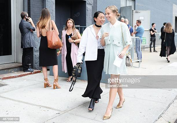 Margaret Zhang is seen outside the Altuzarra show wearing a Dion Lee dress shirt Cmeo Collective black skirt Tony Bianco shoes and a Isawan black bag...