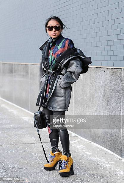 Margaret Zhang is seen outside the DVF show on February 15 2015 in New York City