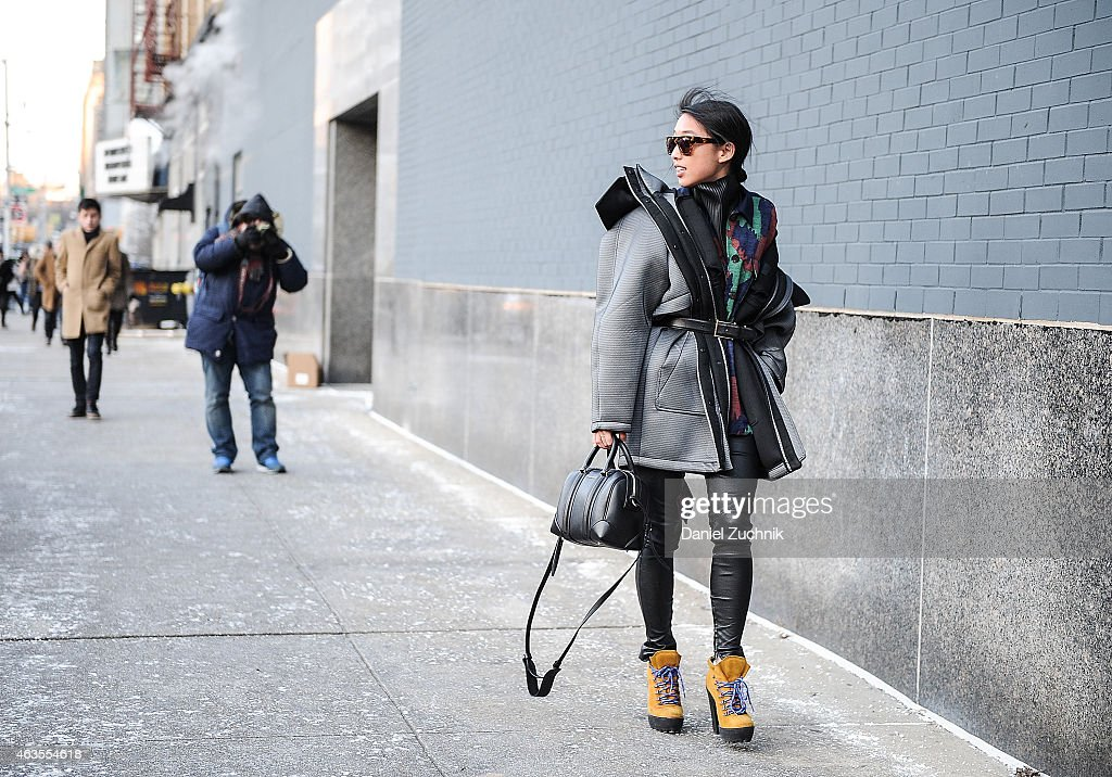 Margaret Zhang is seen outside the DVF show on February 15, 2015 in New York City.