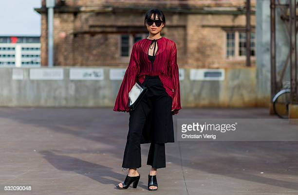 Margaret Zhang outside Emma Mulholland at MercedesBenz Fashion Week Resort 17 Collections at Carriageworks on May 18 2016 in Sydney Australia