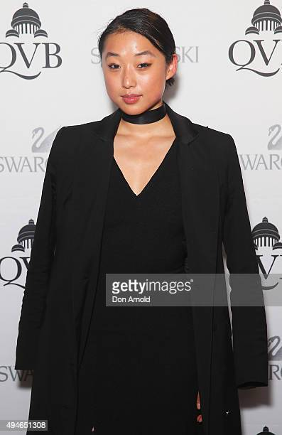 Margaret Zhang poses during the QVB Swarovski Christmas tree VIP preview on October 28 2015 in Sydney Australia